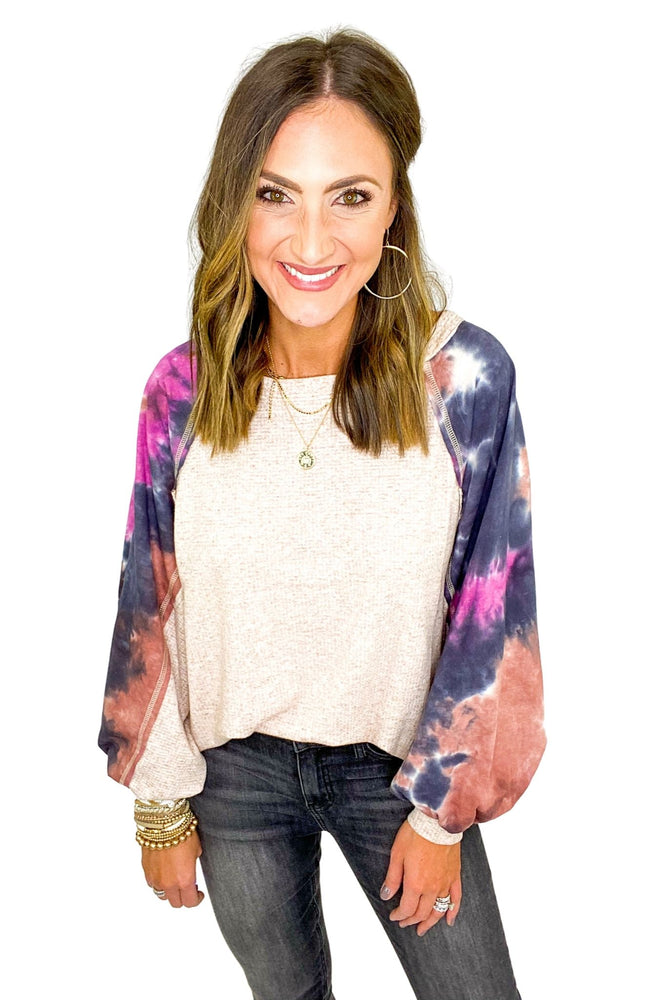 Load image into Gallery viewer, Oatmeal Scoop Neck Top w/ Tie-dye Puff Sleeve *FINAL SALE*