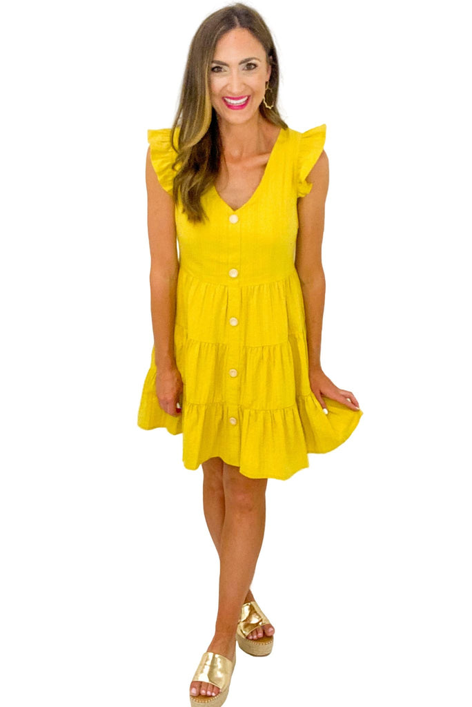 Mustard Button Front Tiered Dress