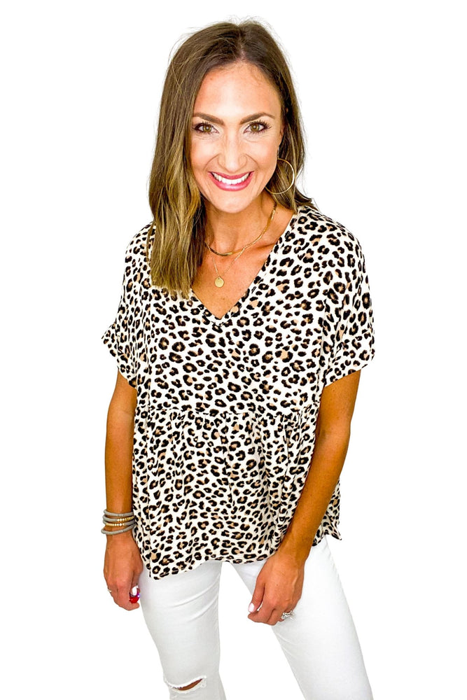 Load image into Gallery viewer, Animal Print Short Sleeve Peplum Top