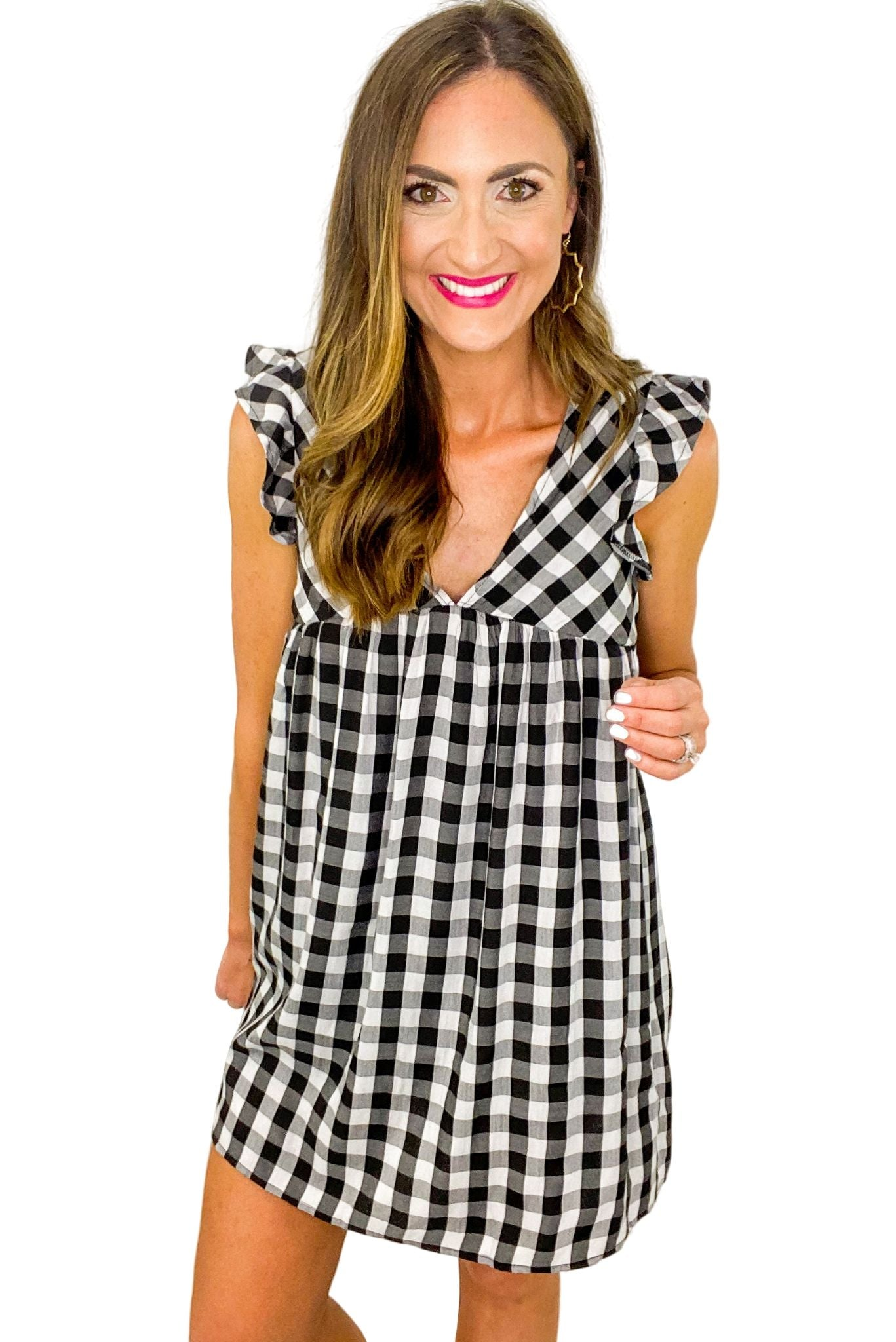 Black and White Gingham Romper