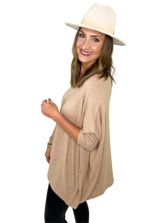 Load image into Gallery viewer, Taupe V Neck Poncho w/ Ribbed Neckline and Sleeves