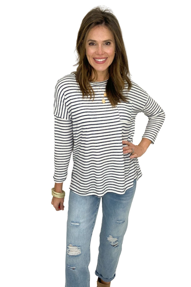 navy and ivory stripe long sleeve top, boyfriend jeans, spring tops, shop style your senses by Mallory Fitzsimmons