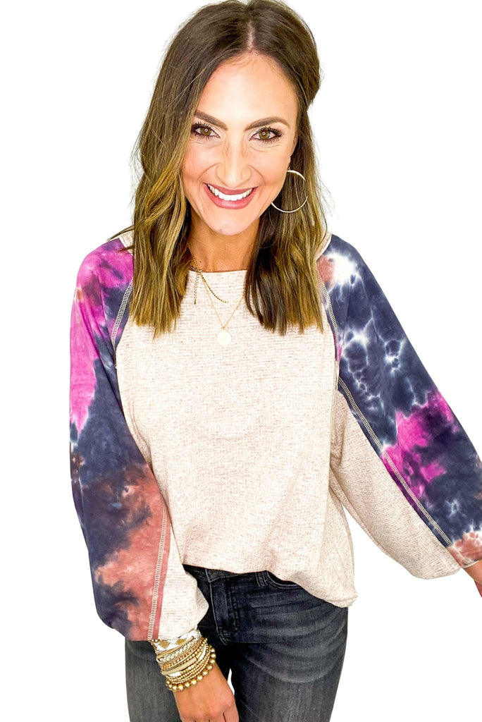 Oatmeal Scoop Neck Top w/ Tie-dye Puff Sleeve