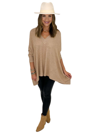 Taupe V Neck Poncho w/ Ribbed Neckline and Sleeves
