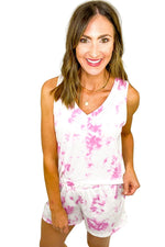 Pink Tie Dye Tank and Shorts Set