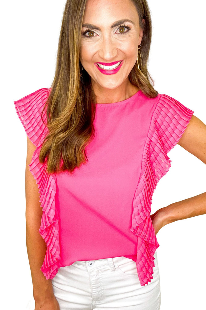 Hot Pink Full Length Ruffle Top *FINAL SALE*