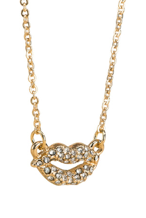 Gold Pave Lips Necklace