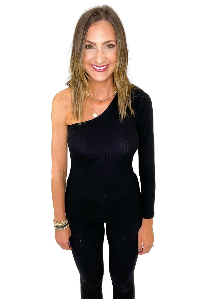 Black Ribbed One Shoulder Long Sleeve Top *FINAL SALE*