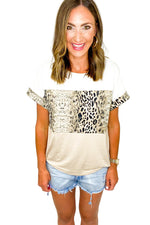Neutral Animal Print Color Block Tee