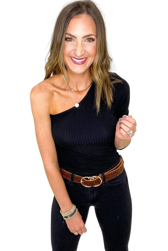 Load image into Gallery viewer, Black Ribbed One Shoulder Long Sleeve Top *FINAL SALE*