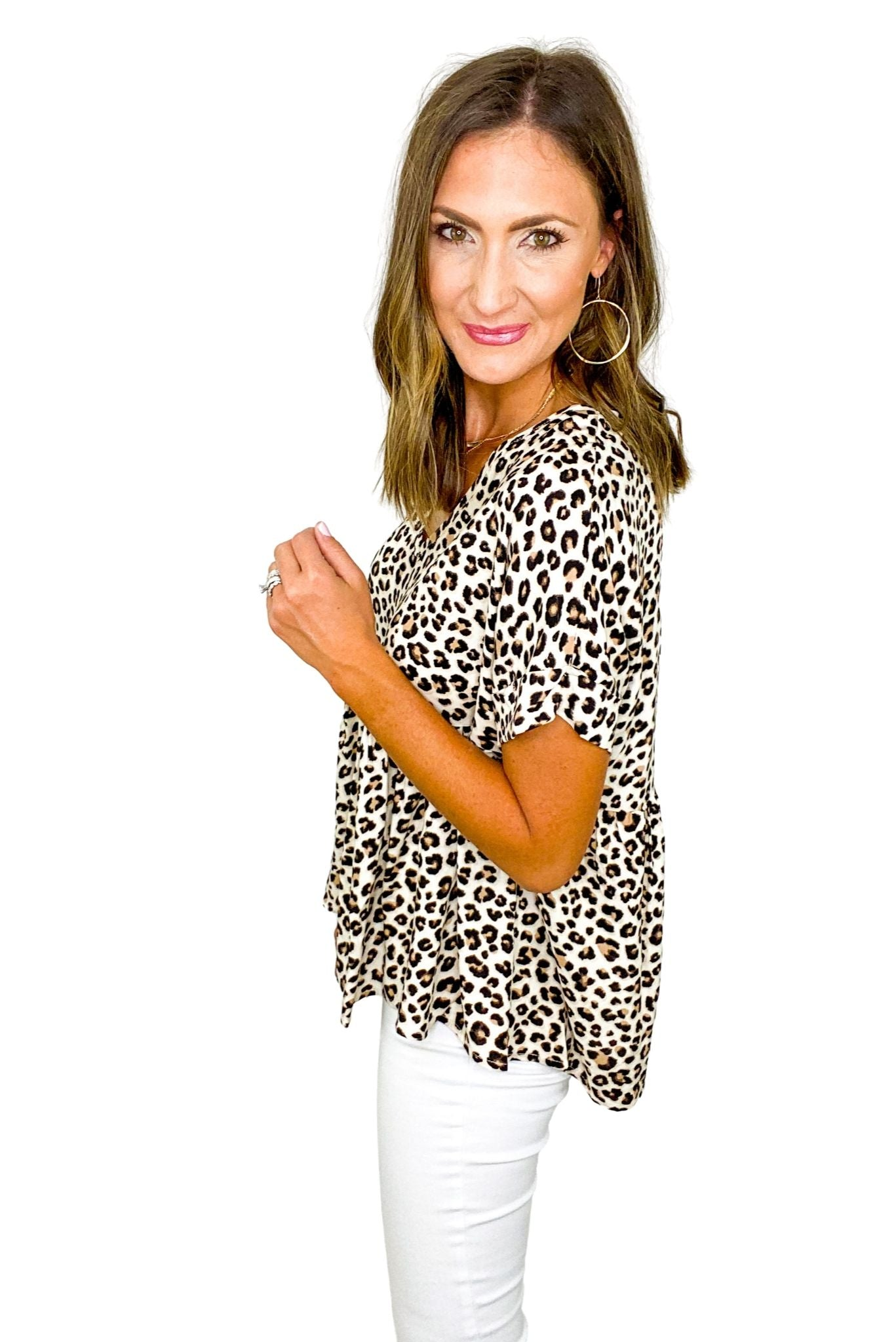 Animal Print Short Sleeve Peplum Top