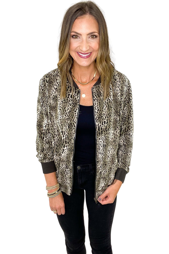 Neutral Animal Print Bomber Jacket *FINAL SALE*