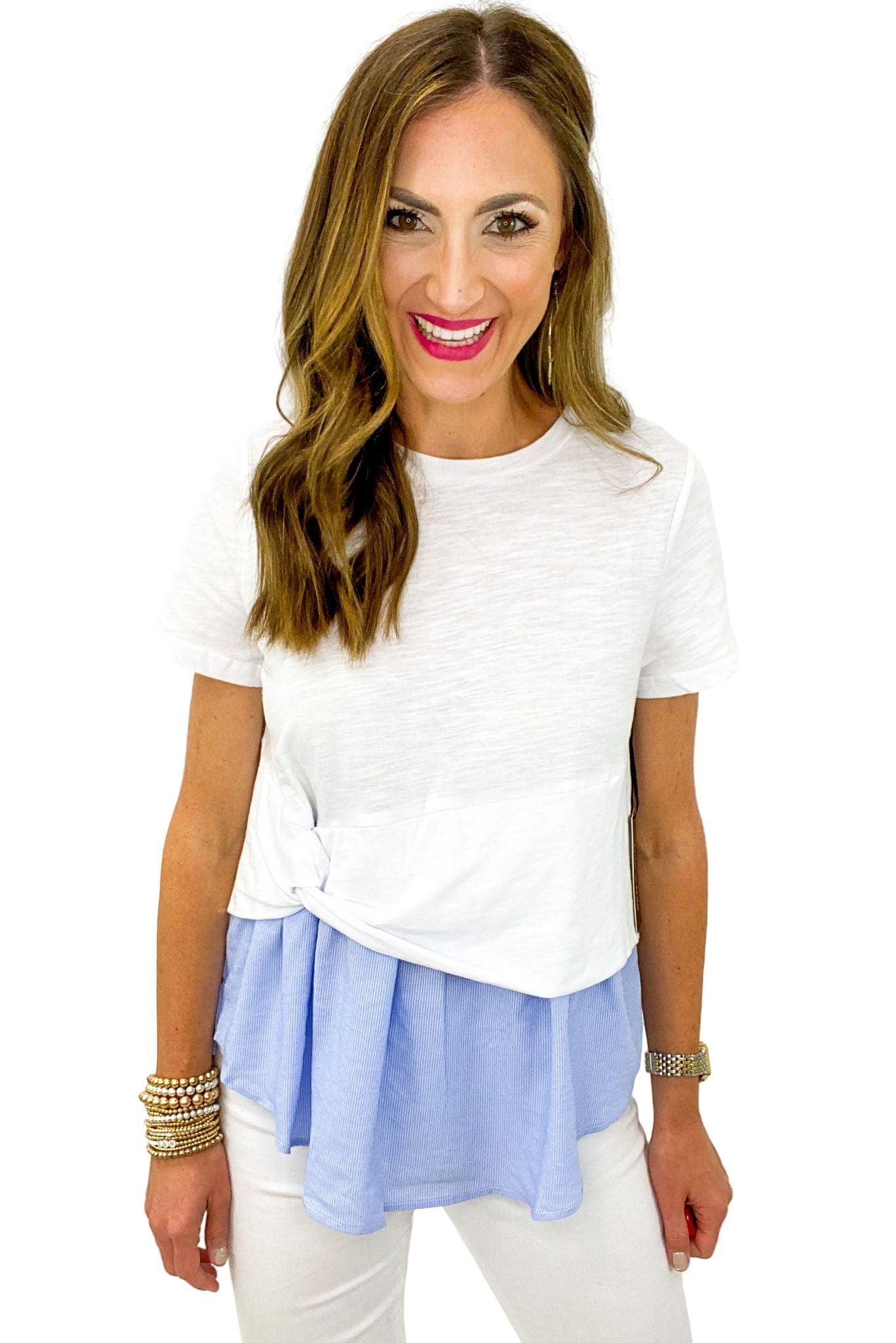 White and Blue Short Sleeve Layered Top *FINAL SALE*
