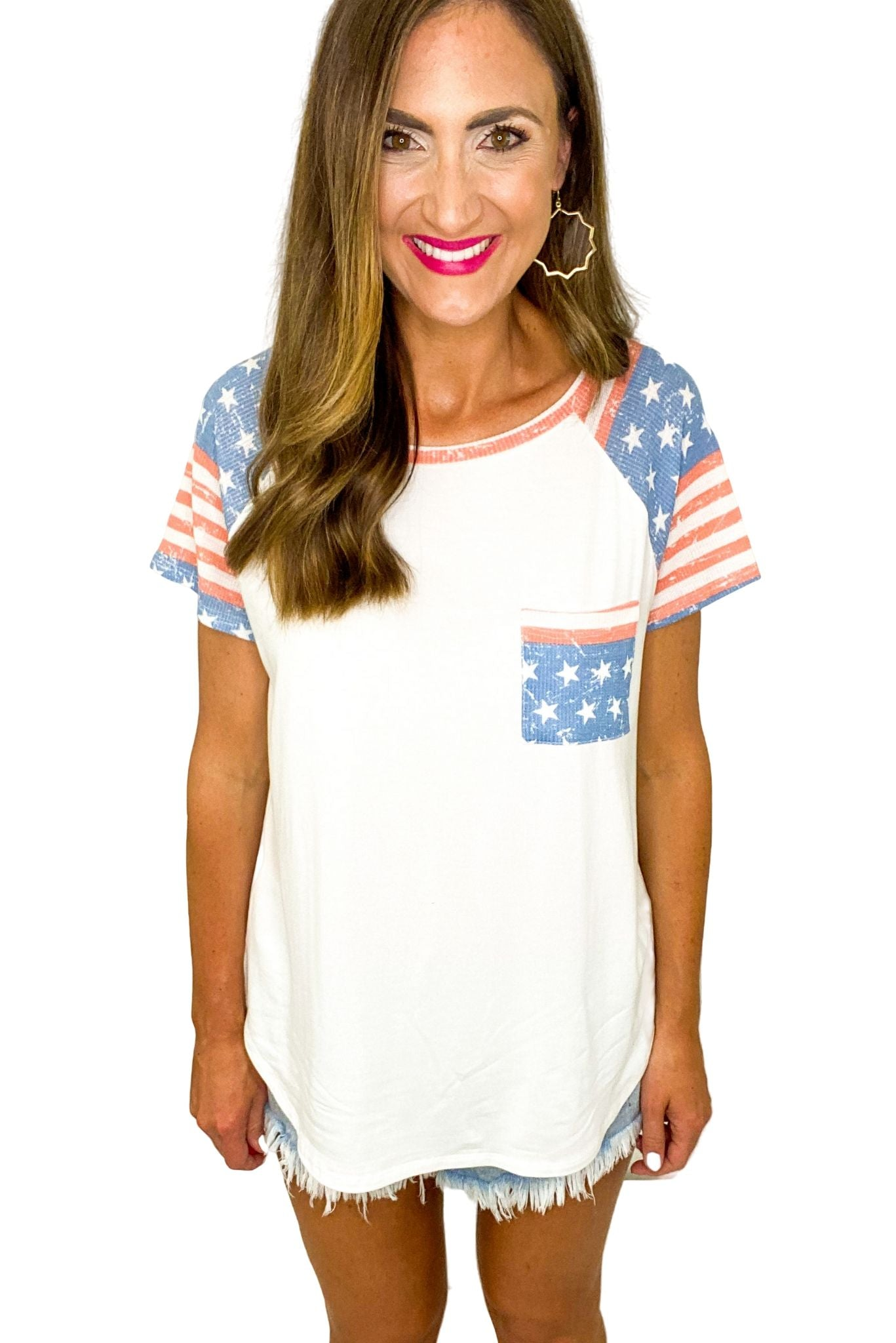 Ivory Tee w/ American Flag Pockets and Sleeves