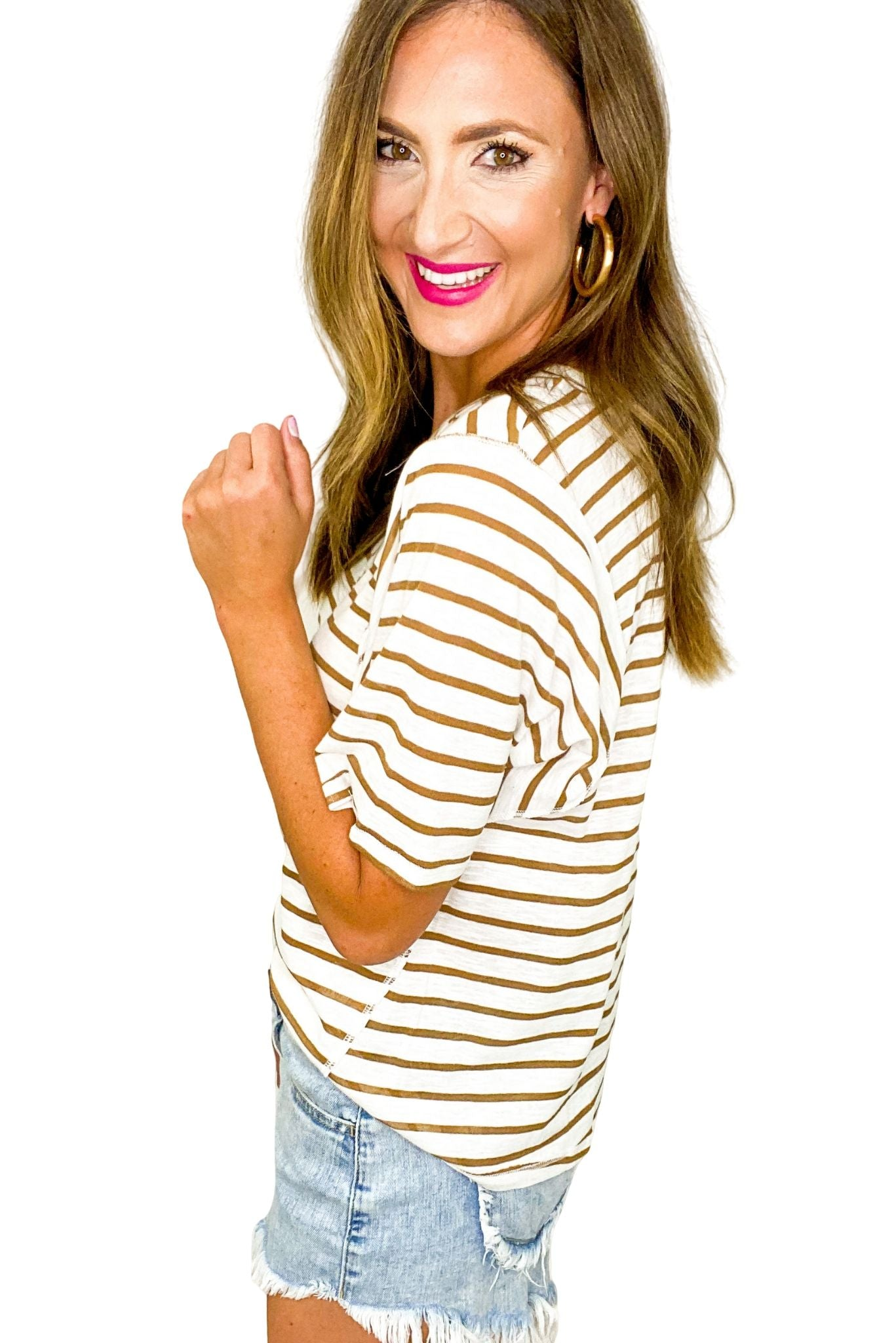Oversized Taupe Stripe V Neck Top