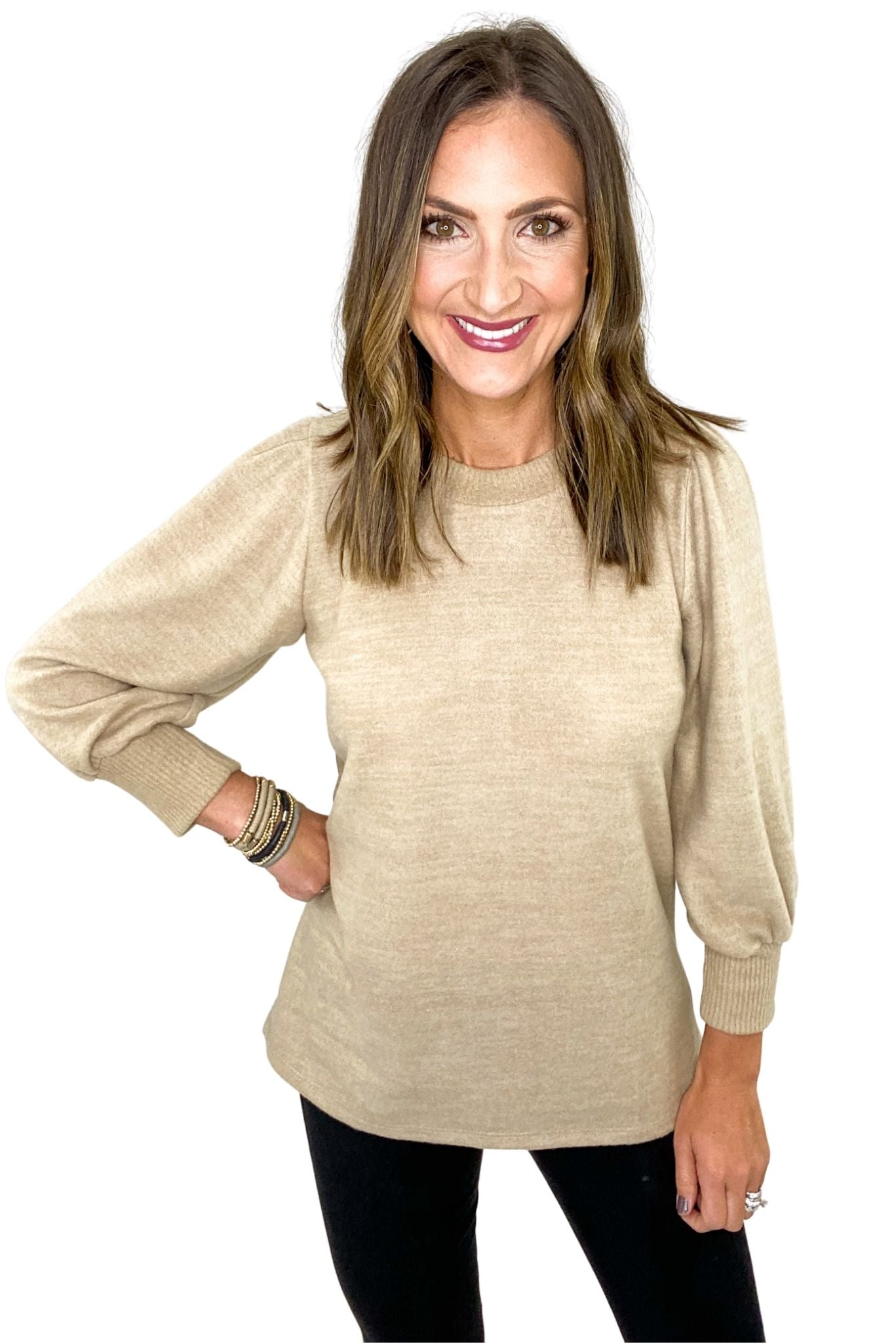 Taupe Brushed Puff Sleeve Top w/ Ribbed Collar