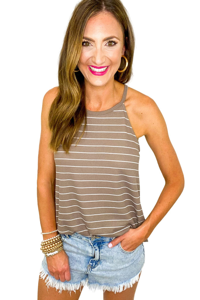 Taupe and Ivory Stripe Halter Tank