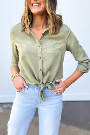 olive button down tie front long sleeve top, dreaming of spring, February collection, spring outfits, new arrivals, affordable style, shop style your senses by mallory fitzsimmons