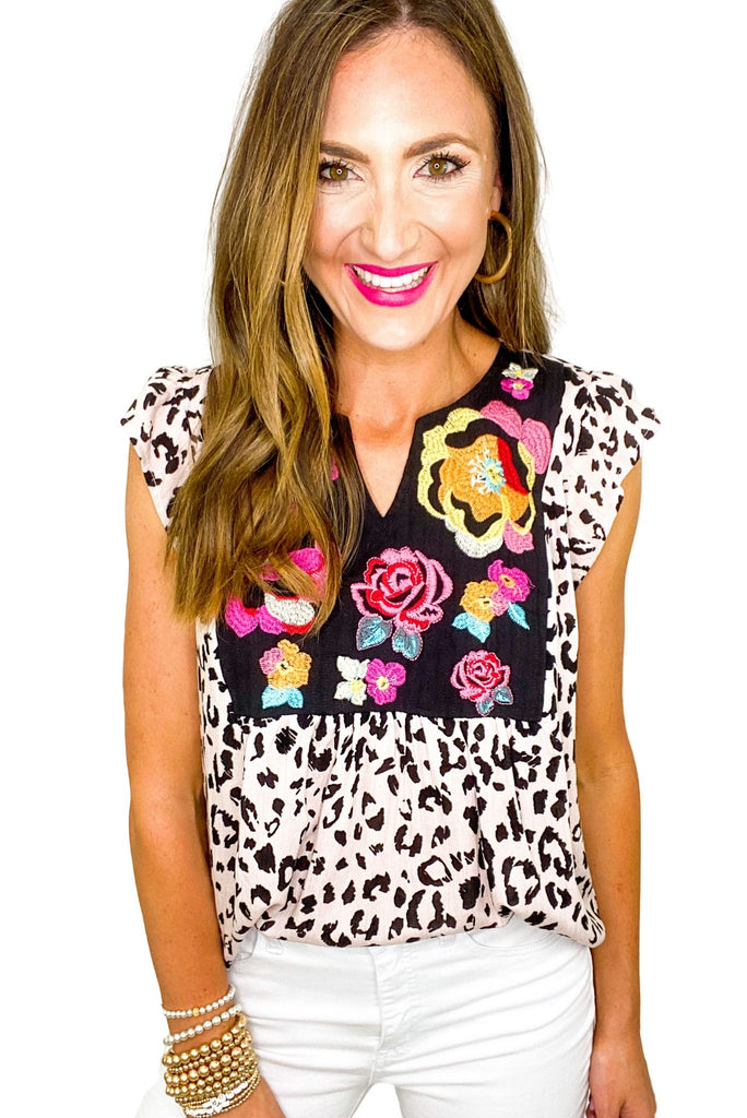 Animal Print Top w/ Floral Embroidery