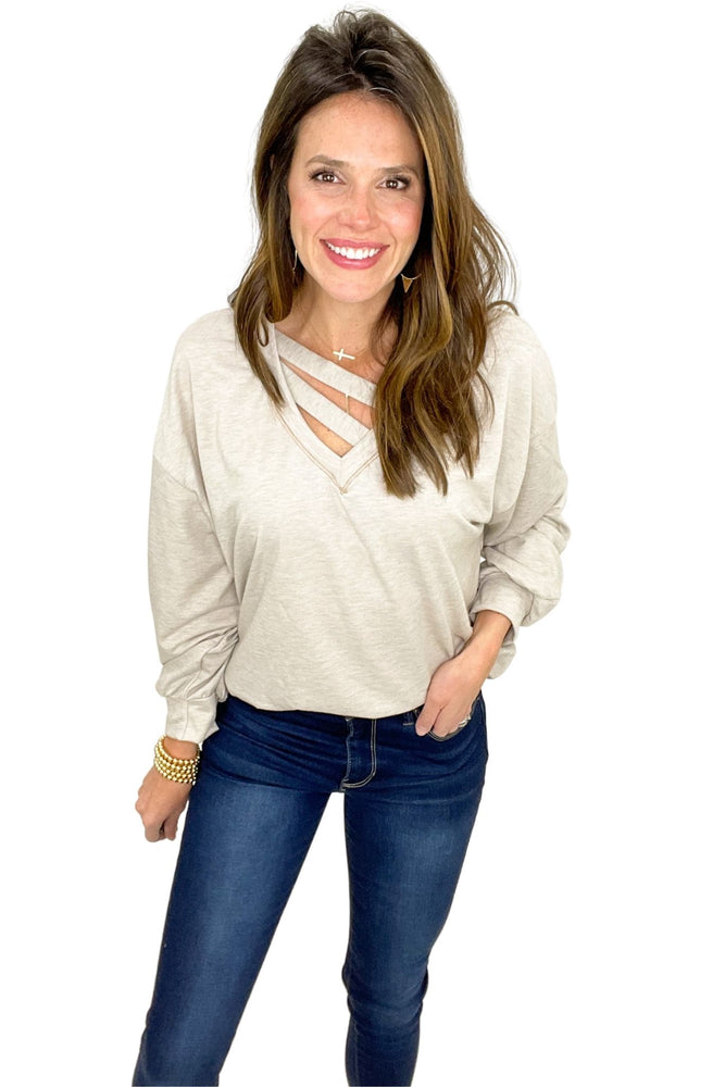 taupe long sleeve knit top w/ double strap detail, skinny jeans, winter tops, shop style your senses by mallory fitzsimmons