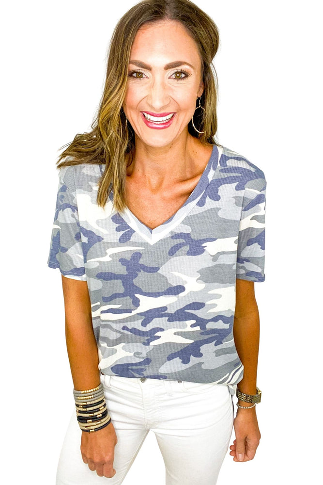 Grey Camo Print V Neck Tee *FINAL SALE*