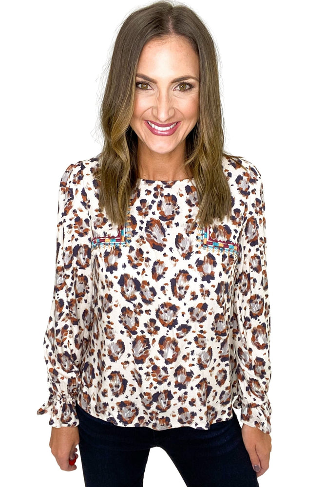 Paintbrush Animal Print Top w/ Embroidery Details