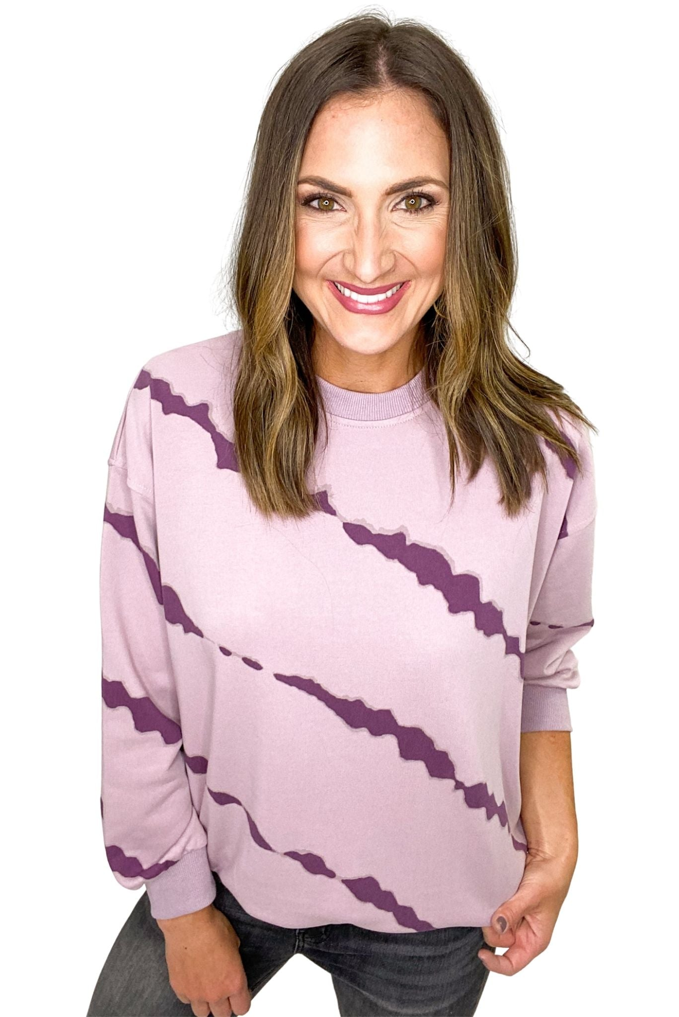 Mauve Long Sleeve Tie Dyed French Terry Knit Top