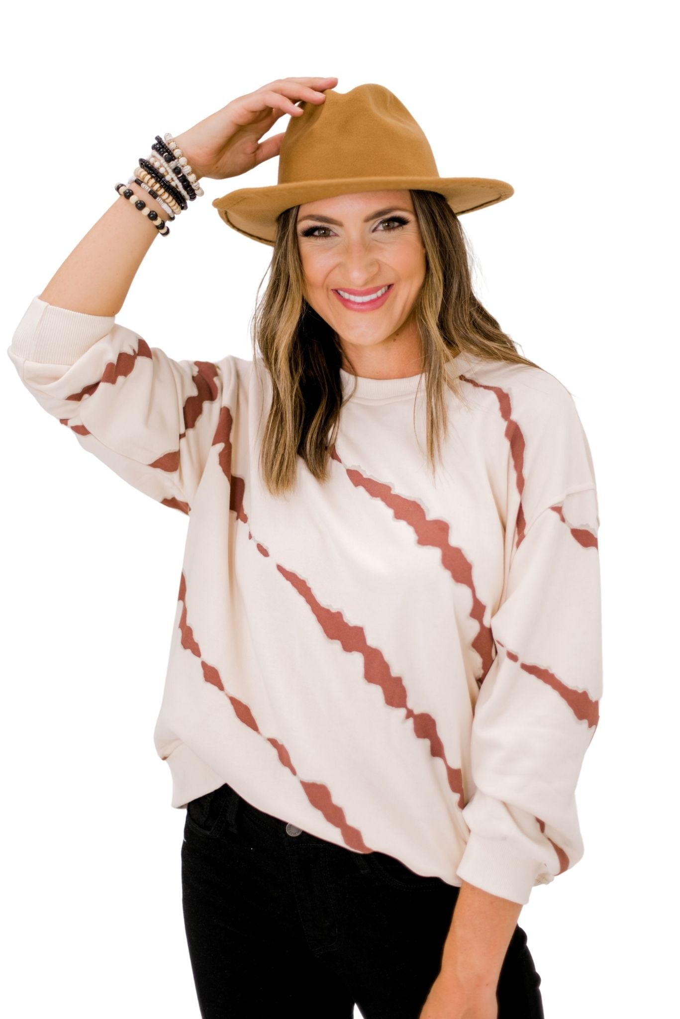 Cream and Brown Tie Dye Pullover