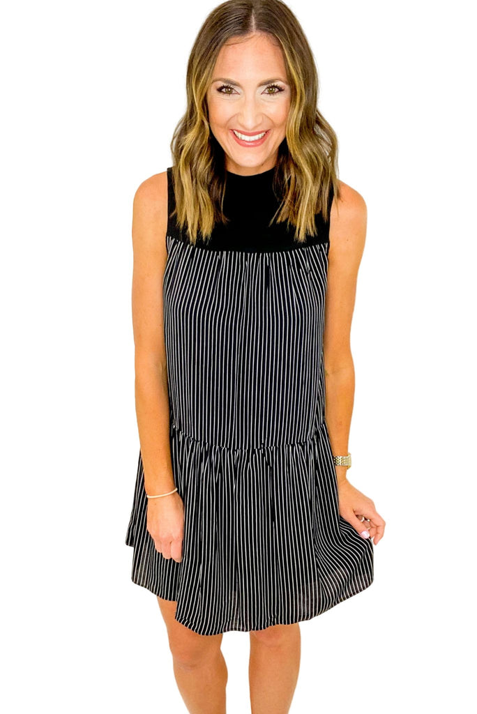 Black Pin Stripe Dress w/ Solid Mock Neck Dress