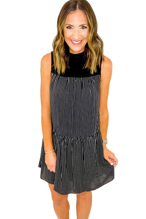 Load image into Gallery viewer, Black Pin Stripe Dress w/ Solid Mock Neck Dress *FINAL SALE*