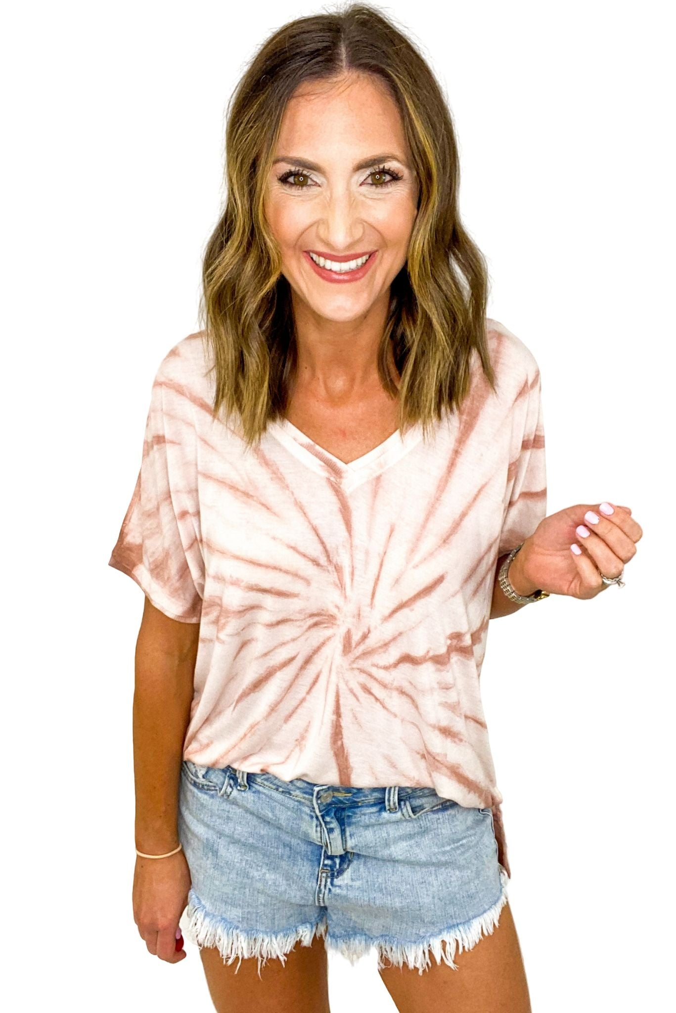 Mauve Short Sleeve Tie Dye Top