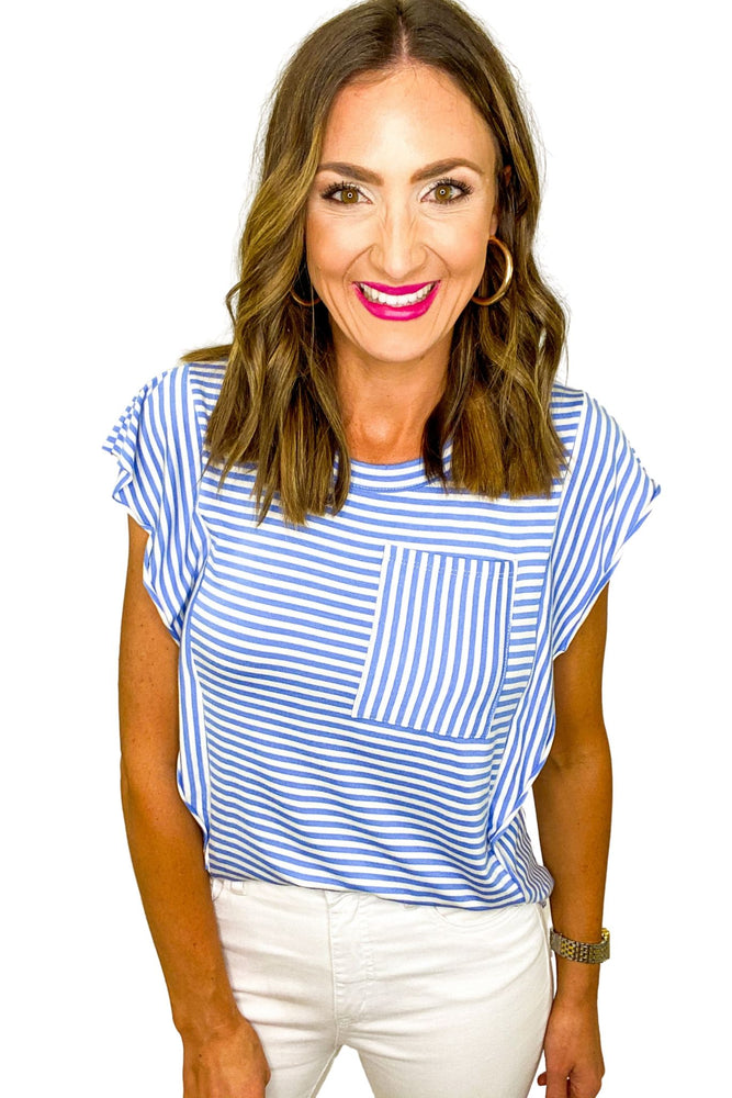 Blue and White Stripe Extended Trim Top
