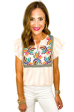 Pink and White Stripe Embroidered Top