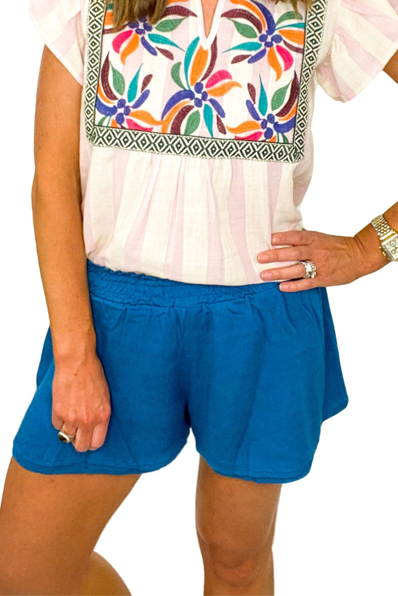 Teal Smocked Waist Double Layer Shorts
