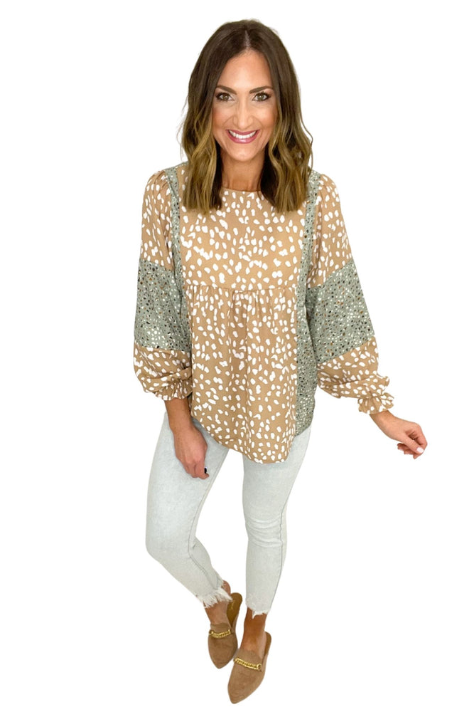 taupe and sage spotted long sleeve top, acid wash jeans, spring tops, affordable style, shop style your senses by mallory fitzsimmons
