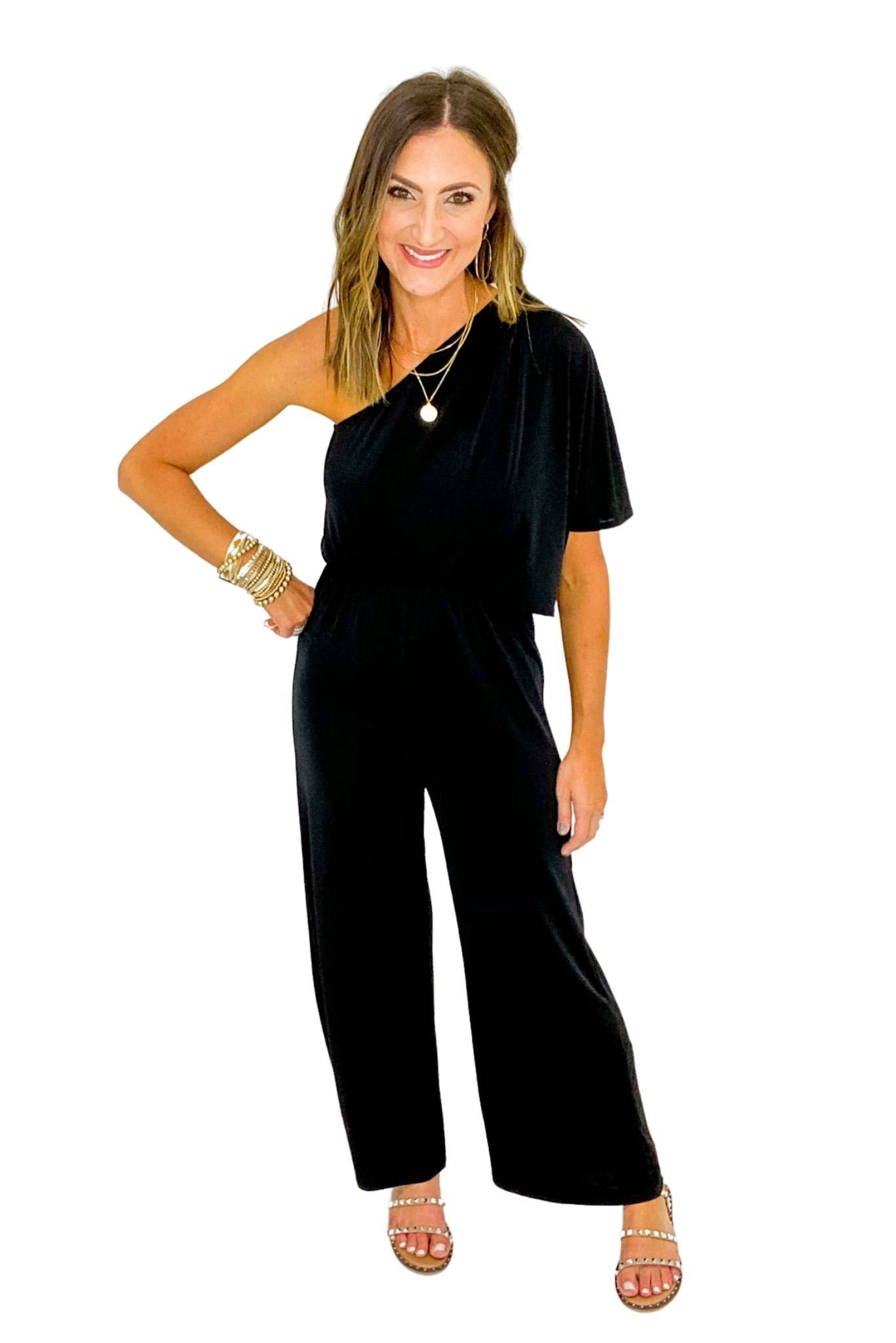 Black One-shoulder Jumpsuit
