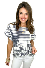 navy and ivory stripe top with front knot detail, white skinny jeans, spring tops, shop style your senses by Mallory Fitzsimmons