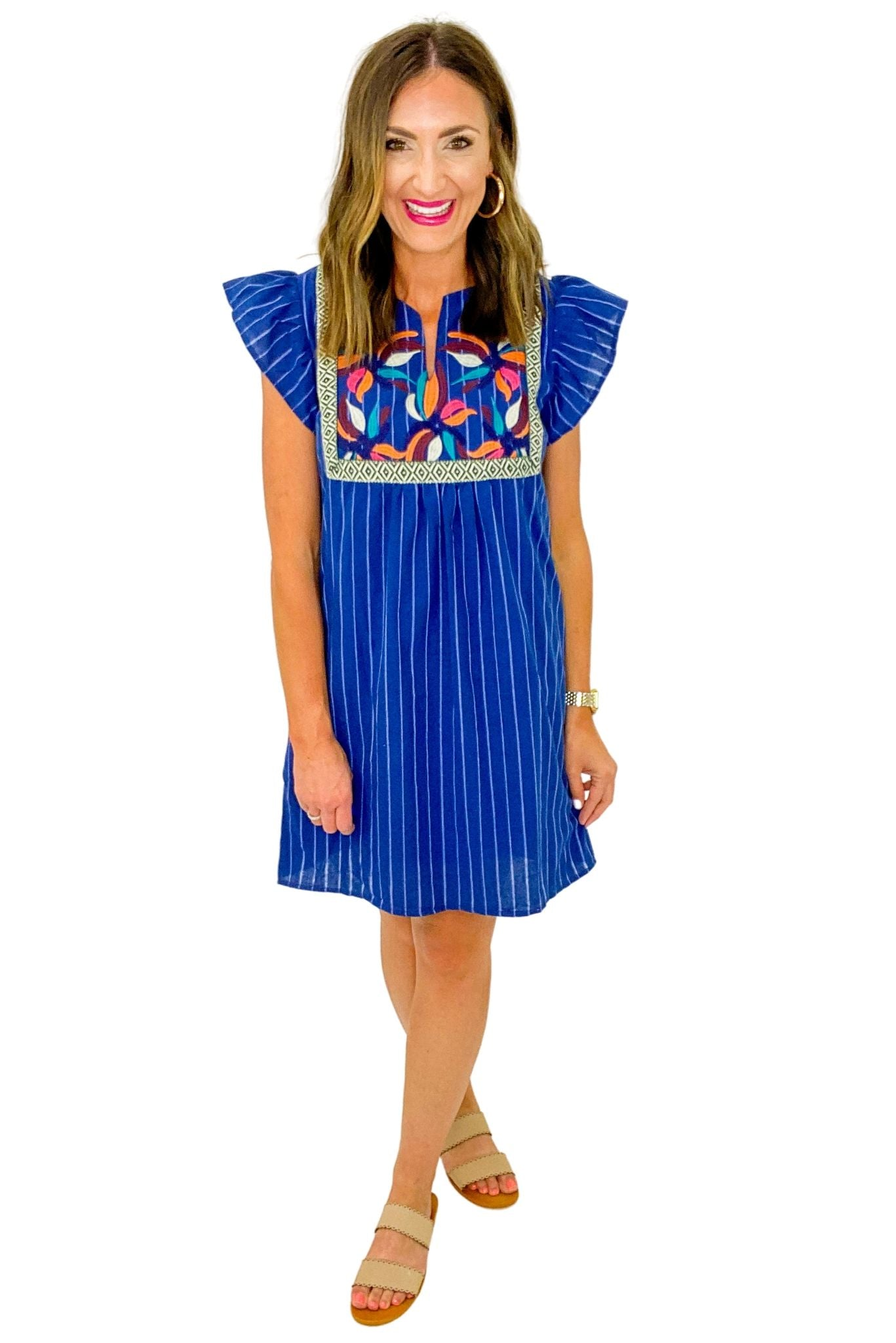 Navy Embroidered Front Stripe Dress