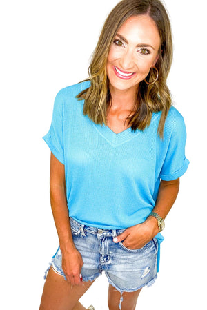 Load image into Gallery viewer, Blue Oversized V Neck Top *FINAL SALE*