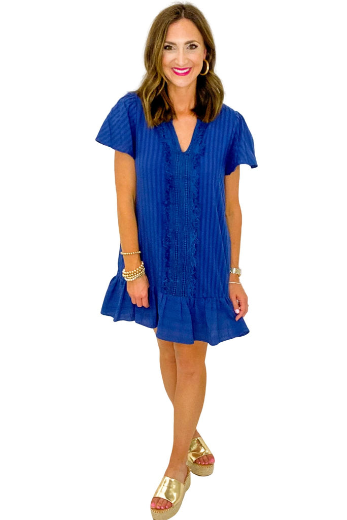Navy Short Sleeve Dress w/ Fringe Insert