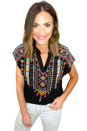 black short sleeve top with tribal embroidery, light wash denim, affordable style, spring tops, shop style your senses by mallory fitzsimmons