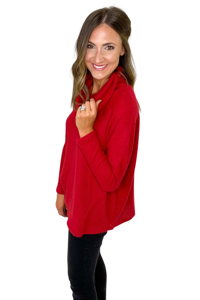 Red Cowl Neck Waffle Knit Top
