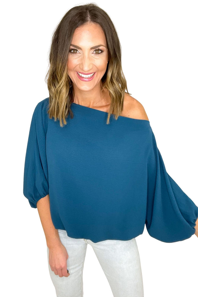 teal off the shoulder balloon sleeve top, spring tops, affordable style, shop style your senses by mallory fitzsimmons
