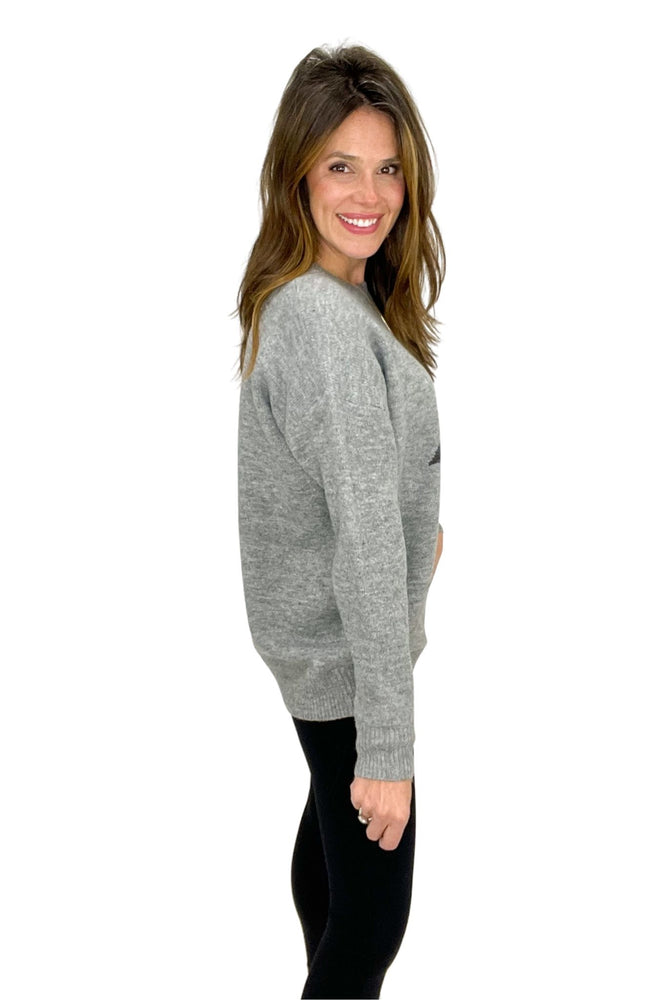 grey thunder bolt knit sweater, leggings, winter wear, shop style your senses by mallory fitzsimmons