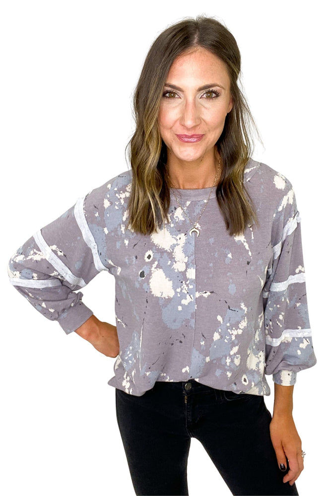 Lavender Splatter Paint Long Sleeve Top *FINAL SALE*