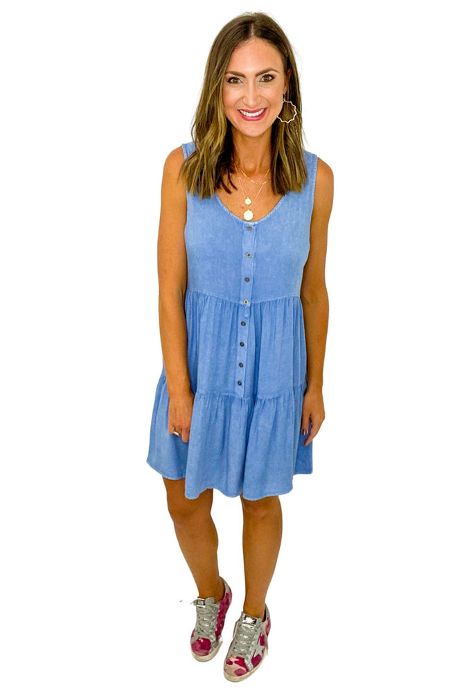 Load image into Gallery viewer, Sleeveless Tiered Denim Dress *FINAL SALE*