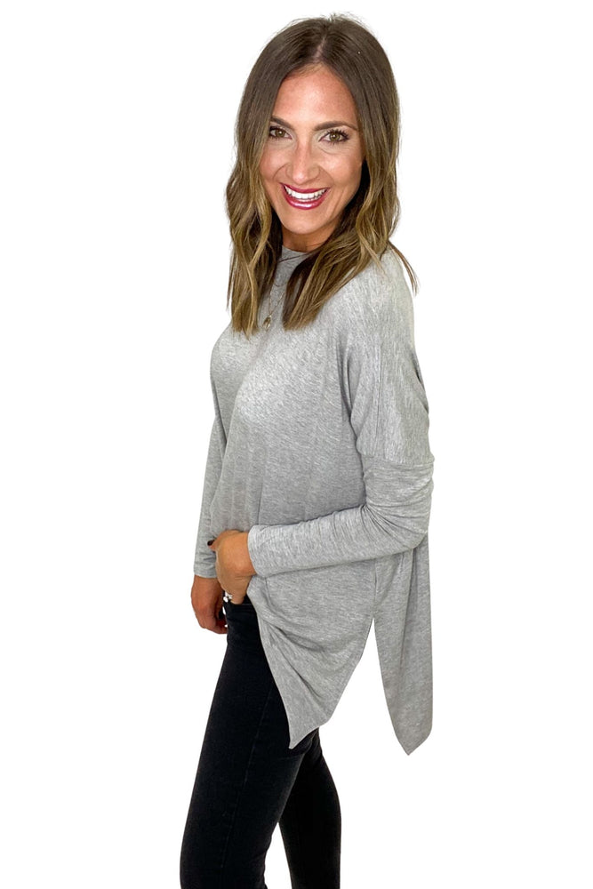 Heather Grey Casual Solid Side Slits Knit Jersey Top