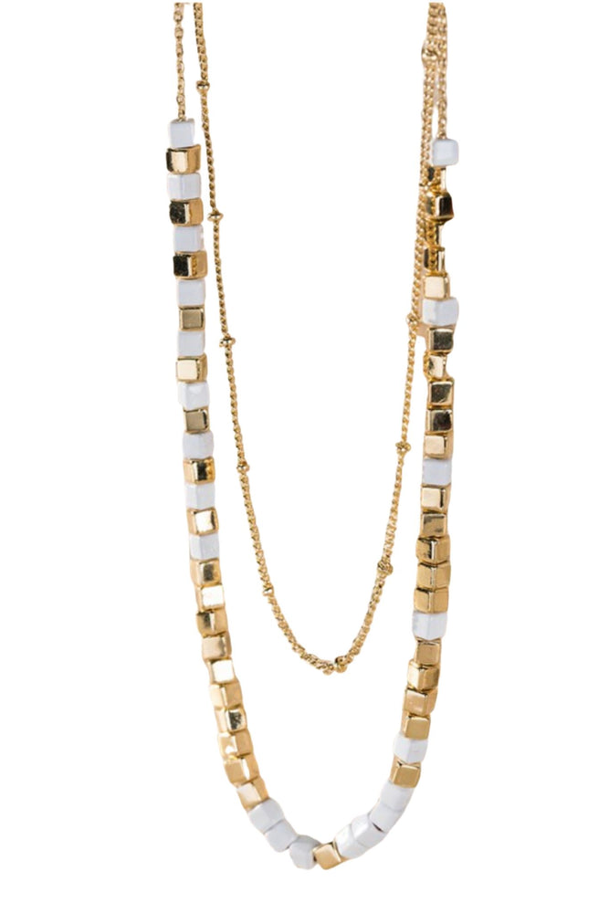 White and Gold Cube Layered Necklace