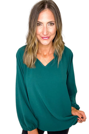 Load image into Gallery viewer, Hunter Green V Neck Long Sleeve Top