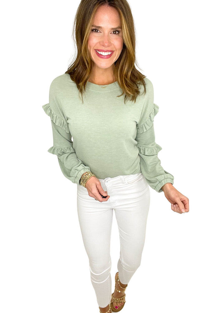 sage long sleeve double ruffle top, white skinny jeans, spring tops, affordable style, shop style your senses by mallory fitzsimmons